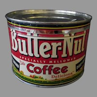 Vintage 1 Pound Key Wind Coffee Tin- Butter-Nut - One Pound Tin