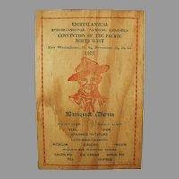 Vintage 1927 Boy Scout Memorablia - Wooden Menu and Program for Pacific Northwest Banquet