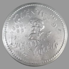Vintage Advertising Tin - Aluminum Quentin's Breath of Violets with Cherub Design