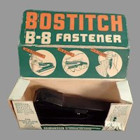 Vintage 1940's Stapler - Bostitch B-8 Paper Stapler Fastener with Original Box