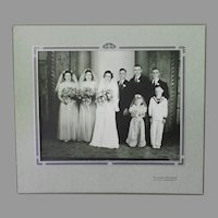 Vintage Wedding Photograph – Party of Six with Two Children including Flower Girl