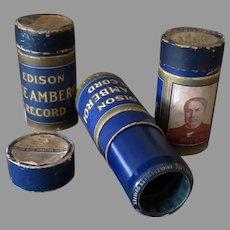 Three Vintage Edison Blue Amberol Phonograph Records - Lot of 3 4M Cylinders