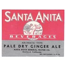 Vintage Paper Soda Bottle Label for Santa Anita Beverages Ginger Ale