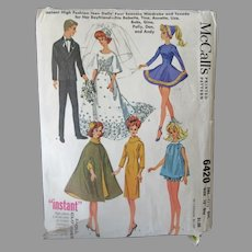 Vintage McCall Doll Clothes Pattern -  #6420 for Barbie, Ken and Other Teen Model Dolls