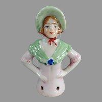 Vintage Porcelain Half Doll - Lady with Shawl & Bonnet Pincushion Doll