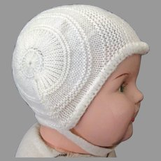 Vintage Cream Colored Knit Bonnet with Chin Strap for Large Baby Doll