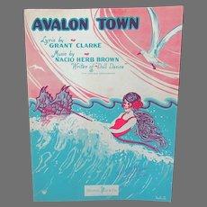 Vintage 1920's Sheet Music – Avalon Town with Fun Ocean Graphics, Ukelele Arrangement