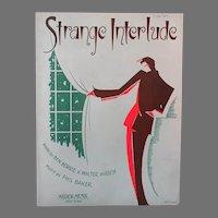 Vintage 1930's Sheet Music – Strange Interlude with Sharp Deco Graphics