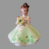 Vintage Josef Original Porcelain Figurine - Birthday Girl for August with Faux Peridot Birthstone