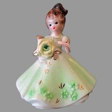 Vintage Josef Original Porcelain Figurine - Birthday Girl for August with Faux Peridot Birthstone