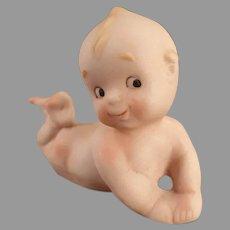 Vintage Porcelain Bisque Baby Kewpie-Like Lying on Stomach