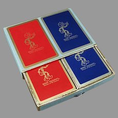 Vintage Reddy Kilowatt Advertising Playing Cards - Red & Blue Double Deck