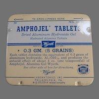 Vintage Wyeth Amphojel Antacid Tablets Medicine Tin - Old Medical Advertising