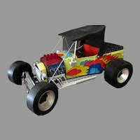 """Vintage Alps Battery Operated Toy Car – Big Slicks Hot Rod Custom """"T"""" Ford"""