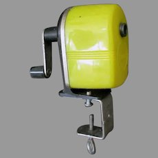 Vintage Sears Pencil Sharpener Clamp on Style with Bright Yellow Plastic Housing