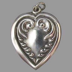 Vintage Sterling Silver Charm – Slightly Puffy Repousse Detailed Heart