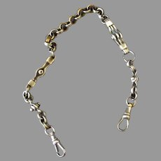 Vintage Pocket Watch Chain with Unusual Links, Silver and Gold Colored - 1920's-30's Radio