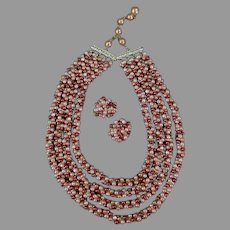 Vintage Costume Jewelry from Hong Kong - Multi-Strand Bead Necklace with Matching Earrings