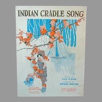 Vintage Sheet Music – 1927 Indian Cradle Song Lullaby with American Indian Graphics