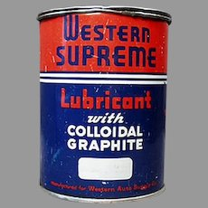 Vintage Automotive Advertising Tin - Western Auto Supreme Lubricant Grease Tin