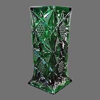 Vintage Illinois Pattern Pressed Glass - Soda Fountain Straw Holder - Emerald Green