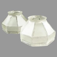 Pair of Vintage Frosted Glass Light Shades with Large Neck Size - Arts & Crafts