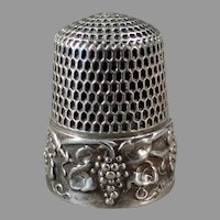 Ornate Vintage Sterling Silver Sewing Thimble with Grape Cluster Design - Simons Bros.
