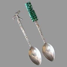 Two Vintage Demitasse Spoon Souvenirs of Mexico - 825 & 925 Silver