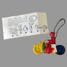 Vintage Motorcycle Dexterity Puzzle Key Chain - Colorful Plastic Toy with Original Instructions