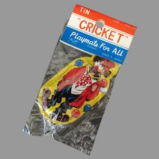 Vintage Cricket Tin Clown Clicker Toy with Original Package