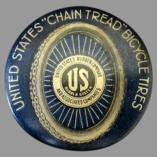 Vintage Celluloid Advertising Noise Maker Clicker - United States Rubber Bicycle Tire