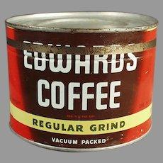 Vintage 1 Pound Key Wind Coffee Tin - Edwards 1# Tin