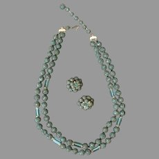Vintage Necklace and Earring Suite - Japan Costume Jewelry Textured Beads & Aqua Glass