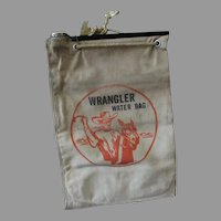 Vintage Canvas Wrangler Water Bag with Cowboy and Horse Graphics