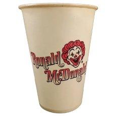 Vintage 1960's Ronald Mc Donald Dixie Cup – Old McDonald's Restaurant Advertising