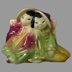 Colorful Vintage Shawnee Pottery - Oriental Boy and Girl Planter