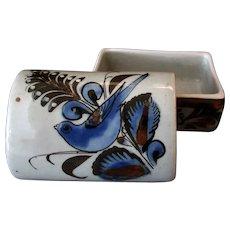 Mexican Pottery Covered Dresser Jar - Blue Bird Design & Little Snail Signature