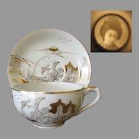 Vintage Kutani Porcelain Tea Cup & Saucer – Gold on White with Geisha Lithophane