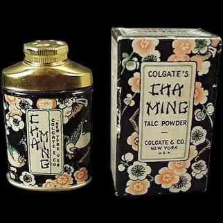 Vintage Sample Talc Tin - Colgate Cha Ming with Original Matching Box