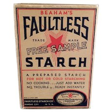 Vintage Sample Faultless Starch Box - Small Unopened Kitchen/Laundry Room Advertising