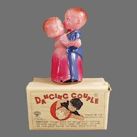 Vintage Celluloid Wind-Up Toy - Occupied Japan Dancing Couple with Box