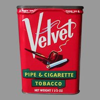 Vintage Pocket Tobacco Tin - Vertical Velvet Pipe and Cigarette Tobacco
