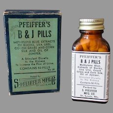 Vintage B&J Pills Bottle with Original Box – Fun Reading Medicine Package