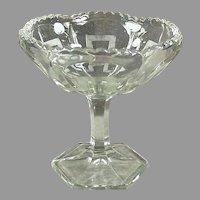 Vintage Pressed Glass, Greek Key Design Pedestal Compote Candy Dish