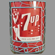 Vintage Seven-Up Advertising Soda Glass - 7-Up - Unusual Turquoise Color