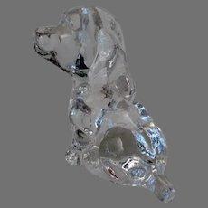 Vintage Glass Dog Paperweight - Goebel Puppy Figural Desk Weight - 1979