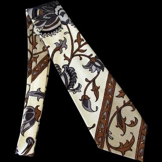 Men's Vintage Necktie – Cotton Linen Floral Paisley – Bold & Classy
