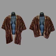 Ladies Vintage Mink Stole, Ed Hamilton Fur Cape – 2 Length Versitility, Luxurious Brown