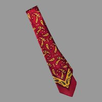 Men's Vintage Neck Tie – Classic Paisley Pattern in Maroon and Gold