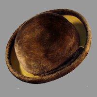 Ladies Vintage Brown Derby Style Couleurs du Sol Plush Littler Felt Hat